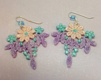 Flower Lace Earrings| Pastel Hand Painted Venise Lace| Lace Painted Both Sides| Bridesmaid/Wedding Earrings| Handmade Ear Wires