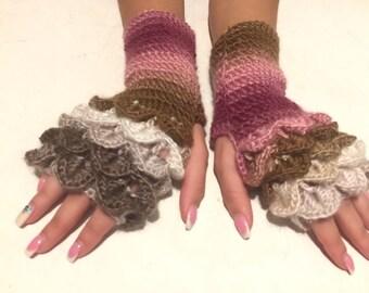 crochet gloves Fingerless Crocheted Gloves women fingerless gloves Dragon Scale women's gloves women's Arm Warmers winter gift Accessory