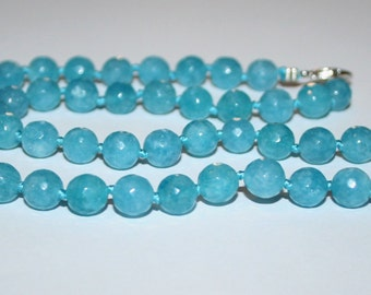 Necklace Aquamarine faceted beads 8 mm.
