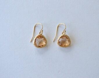 Lucia Earrings in Champagne - Drop Earrings