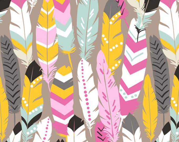 One Yard Luckie - Fringe in Pink - Feathers Cotton Quilt Fabric - by Maude Asbury for Blend Fabrics - 101.115.04.2 (W3459)