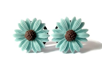 Blue Vintage Flower Plugs - Available in 5/8 in and 3/4 in