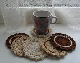 U pick colors - Set of 6 Crochet Coasters - 3.7' or 9.5 cm - 89 Colors Available