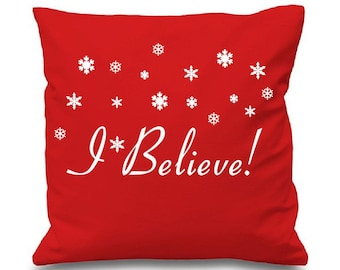 """I Believe - Christmas Cushion pillow Cover - 16""""x16"""" (41cmx41cm) Miracle on 34th Street Inspired"""