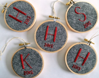 Initial Ornament, Hand Embroidered, Christmas Tree Embroidery Hoop Art, Monogram, Embroidery Ornament by BreezebotPunch