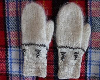 Mittens hand knitted Angora wool mittens