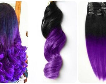 New High Quality Two Tone 1B/Purple Ombre 7A 100% Real Virgin Remy Brazilian Loose Wave Clip In Human Hair Extensions