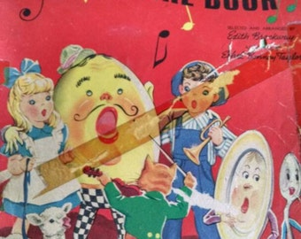 free shipping.. Antique vintage nursery rhyme book. 1943. Children's songs music. Mother goose. Jack and Jill humpty dumpty