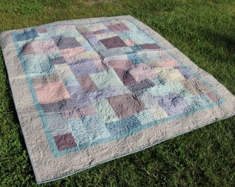 73x87 Handmade professionally quilted reversible full size quilt