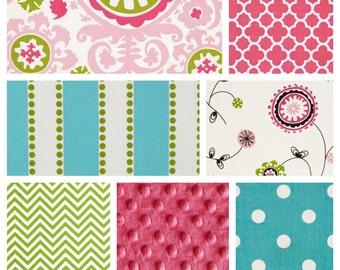 Custom Baby Girl Crib Bedding Set - Blanket, Skirt & Sheet in Pink Lime Aqua