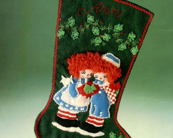 "Bucilla A Gift For You ~ 18"" Felt Christmas Stocking Kit #82257 Raggedy Ann Andy DIY"