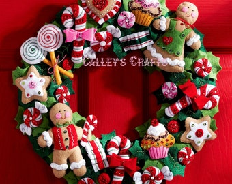 Bucilla Cookies & Candy Wreath ~ Felt Christmas Kit #86264, Gingerbread DIY