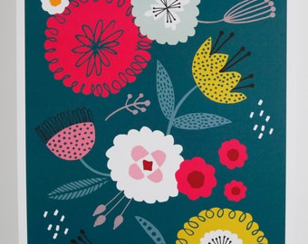 A3 print bright bold graphic floral contemporary illustration