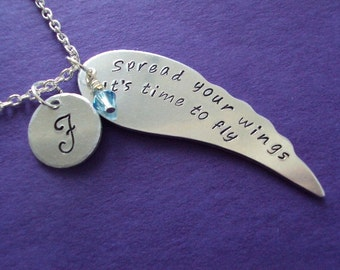 """Personalized wing necklace - """"Spread your wings"""" with initial and birthstone - Aluminum nicklace"""