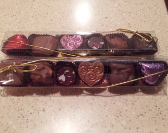 6pc Assorted Chocolates long box with gold bottom