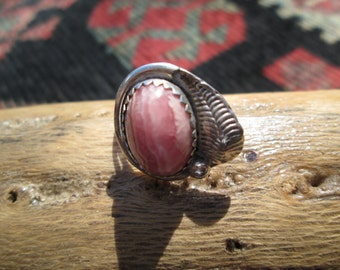 Rhodochrosite and Sterling Feather Ring Size 6