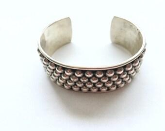 Sterling Silver Half Bangle Bracelet Dotted Design