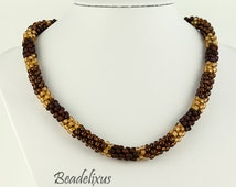 Beaded necklace Brown frosted-Cream color seed beads - Stainless steel closure - Striped necklace
