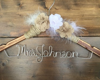 Elegant Rustic Hanger with ivory Burlap Flower, Bride Hanger with date, Wedding Hanger, Personalized Bridal hanger, Bridal Gift, beautiful