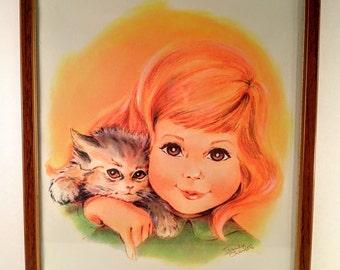 Vintage Irene Charles Print. Northern Tissue Girl with Red/Strawberry Blonde Hair Holding Kitten. Framed. 1960's Girl's Room Decor.