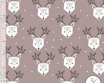 Organic Jersey Fabric Dear Deer Mauve , Elvelyckan Design , Knit , Per half metren