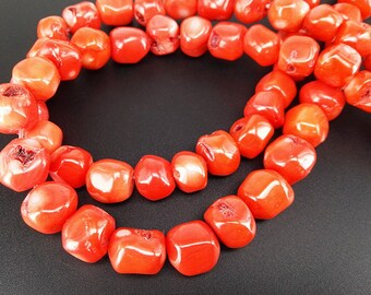 Full Strand 16inch Approx 11-15mm Orange Coral Nugget Beads