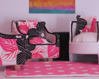 Pink and Black Flowered Barbie Chair