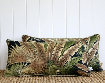 """Black Forest Outdoor Lumbar Cushion Pillow Cover with piping 