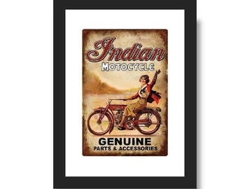 Vintage poster advertising of a Indian Motorcycle