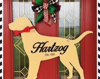 Lab Labrador Retriever Door Hanger Front Door Dog Lover Pet with Name