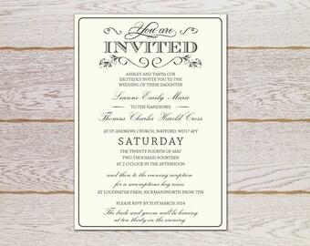 Rustic Elegant Wedding Invitation