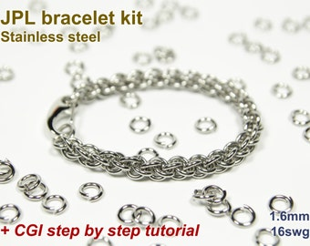 JPL Bracelet Kit, Chainmaille Kit, Stainless Steel, Chainmail Kit, Jump Rings, JPL Tutorial, Jens Pind Linkage, Chainmaille Tutorial