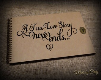 A True Love Story Never Ends, Romantic Scrapbook/Photo Album, Valentines, Christmas, Wedding, Engagement, Couples Gift Idea