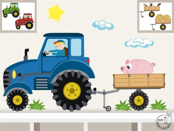 Wandtattoo traktor anh nger mini bauernhof - Wandtattoo traktor kinderzimmer ...
