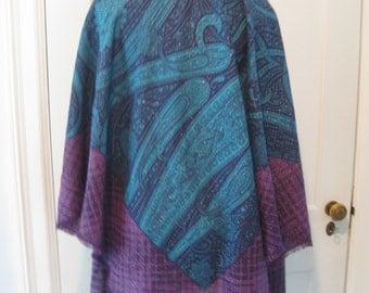 VTG 80's VALENTINO WOOL Purple Teal Blue Paisley Large Square Wrap Scarf Shawl