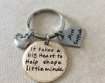 Teacher Appreciation hand stamped mixed metals, Bronze with stainless steel heart