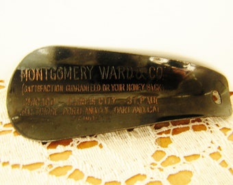 Vintage Black Metal Montgomery Ward Shoe Horn Advertising Shoehorn