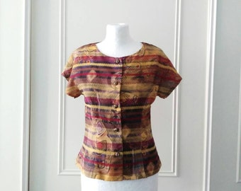 CLEARANCE Handmade blouse 1980's vintage blouse patterned blouse short sleeved summer blouse ladies blouse bronze blouse size 10/12