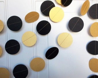Party Garland, Gold & Black Garland, Party Decoration, Birthday Party, Shower Garland, Circle Garland, 12'