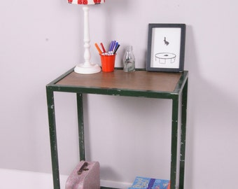 Children's Green Meal Trolley with Wooden Shelves - Children's Furniture