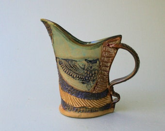 Hand-built Stoneware Owl Pitcher
