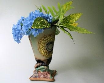 Hand-built Stoneware Sun Flower Vase