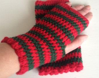 Fingerless gloves ladies, Red and Green stripe, handmade crochet ladies gloves,present, wrist warmer, gifts for her