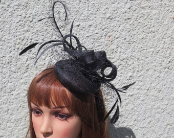Black small sinamay hat.wedding,race days,garden party.