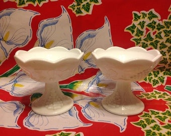 Vintage Pair of Indiana milk glass Colony Harvest footed candlestick holders