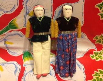 Vintage pair of hand made Navajo dolls