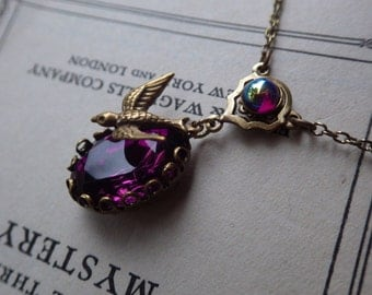 Art Nouveau Necklace ~ Purple ~ Vintage Style ~  Amethyst Pendant ~ February Birthstone ~ Vintage Glass ~ by LadyofTheLakeJewels