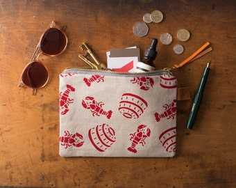 Screen Printed Linen Zipped Bag - Lobster Pot - Seaside - Lobsters - Beach Make Up Bag / Pencil Case / Purse