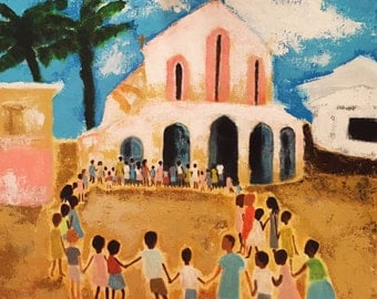 Children of Africa Canvas Painting, Acrylic Painting of Children and Church, Large Canvas Painting