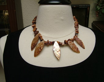 Vintage Bontoc Tribal Talisman Ceremonial Inspired Dyed Mother of Pearl Necklace